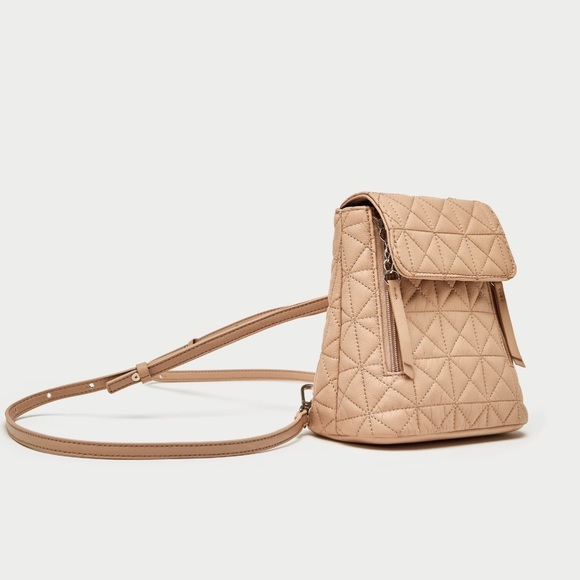 db39495660 NWT Zara nude mini quilted backpack